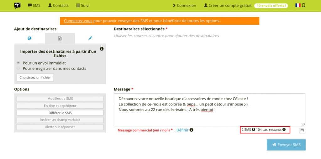 Screenshot exemple compteur de SMS