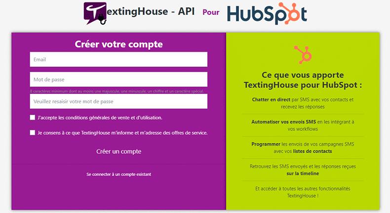 Création du compte Texting House API