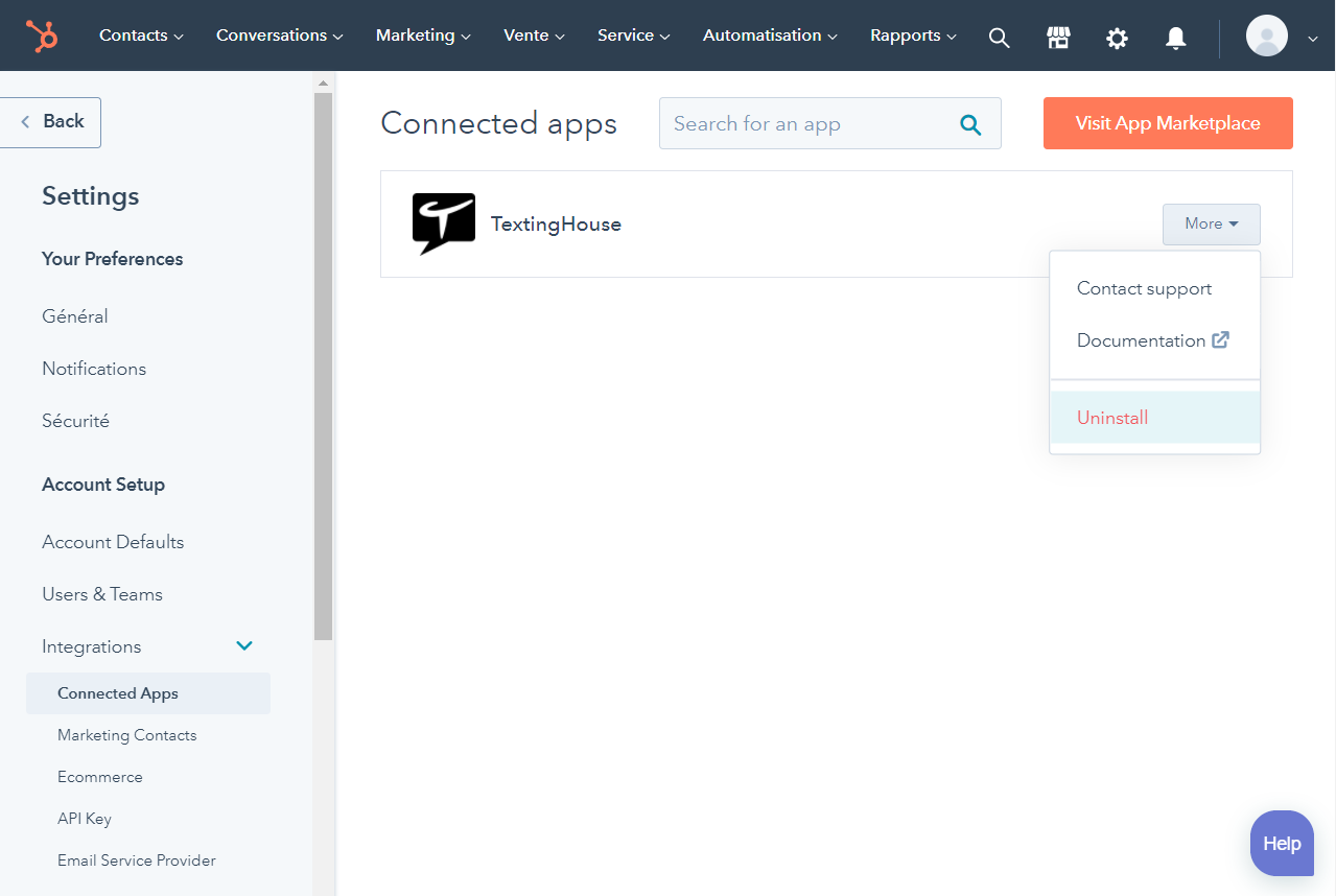 Uninstall TextingHouse for HubSpot